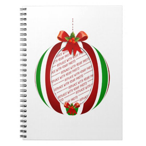 Red & Green Christmas Ornament Photo Frame Notebooks