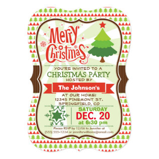 Red & Green Christmas Party Invitation at Zazzle