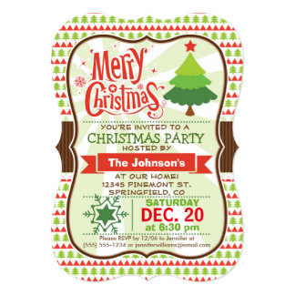 Red & Green Christmas Party Invitation