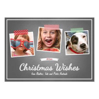 Red Green Christmas Photo Washi Tape Chalk Holiday Invitation