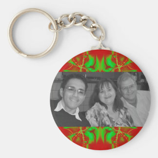red green Christmas photoframe Basic Round Button Keychain