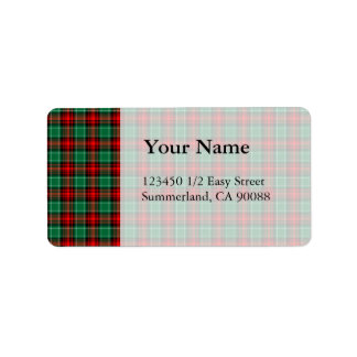 Red Green Christmas Plaid Address Labels