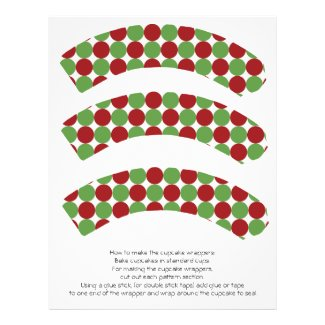 Red & Green Christmas Polka Dots Cupcake Wrappers Personalized Flyer