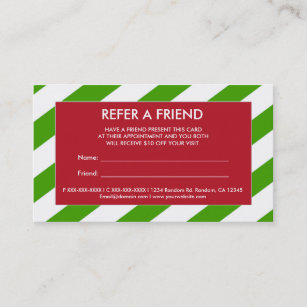 Christmas cards for friend business cards templates zazzle red green christmas refer a friend business cards colourmoves