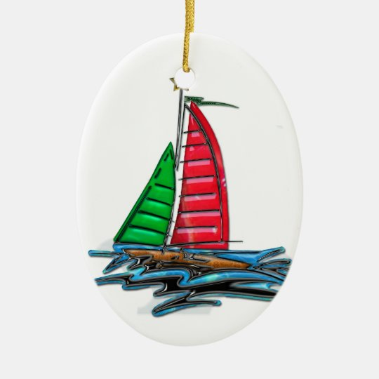 Red & Green Christmas Sailboat Ceramic Ornament