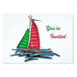 Red & Green Christmas Sailboat 5x7 Paper Invitation Card