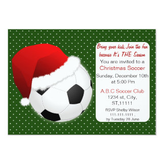 Red & Green Christmas Soccer Tournament Card