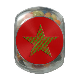 Red Green Christmas Star Glass Candy Jars