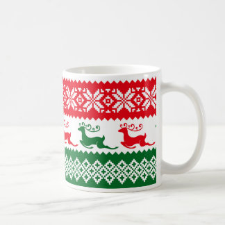 Red & Green Christmas Sweater,Deer Pattern Mug