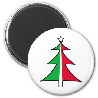 Red Green Christmas Tree 2 Inch Round Magnet
