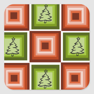 Red green christmas tree designed gift wrapping square sticker