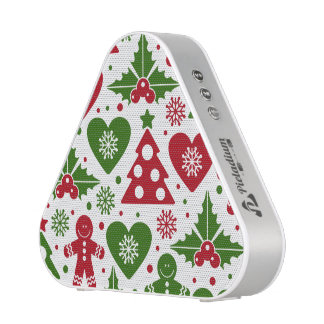 Red & Green Christmas Tree Gingerbread Man Pattern Bluetooth Speaker