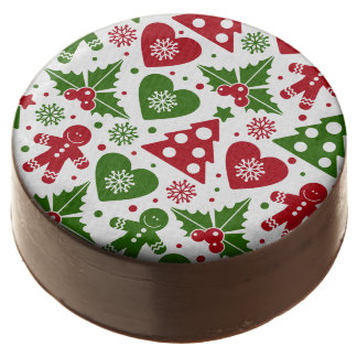 Red & Green Christmas Tree Gingerbread Man Pattern Chocolate Covered Oreo
