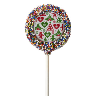 Red & Green Christmas Tree Gingerbread Man Pattern Chocolate Covered Oreo Pop