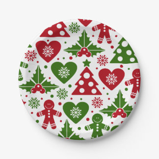 Red & Green Christmas Tree Gingerbread Man Pattern Paper Plate