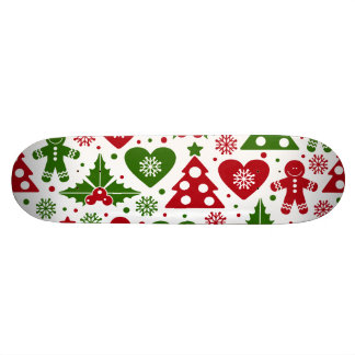 Red & Green Christmas Tree Gingerbread Man Pattern Skateboard