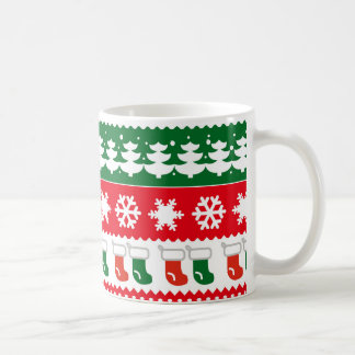 Red & Green Christmas Tree Pattern Custom Mug