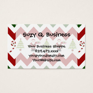 Red Green Christmas Tree Santa Chevron Pattern Business Card