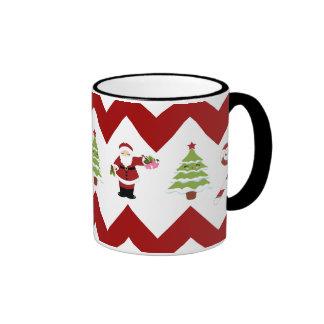 Red Green Christmas Tree Santa Chevron Pattern Mug