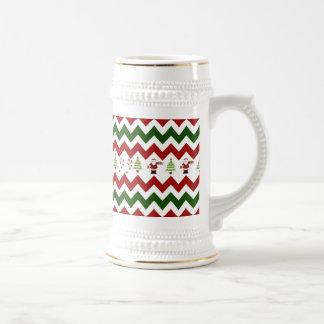 Red Green Christmas Tree Santa Chevron Pattern Coffee Mugs