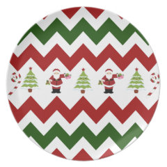Red Green Christmas Tree Santa Chevron Pattern Party Plates