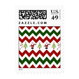 Red Green Christmas Tree Santa Chevron Pattern Postage