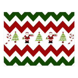 Red Green Christmas Tree Santa Chevron Pattern Postcard
