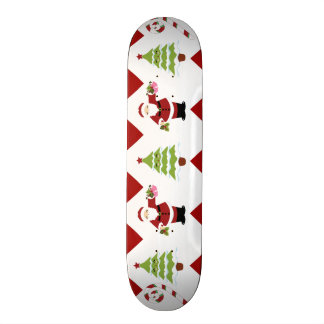 Red Green Christmas Tree Santa Chevron Pattern Skate Board