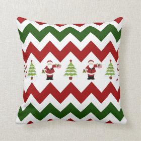 Red Green Christmas Tree Santa Chevron Pillow
