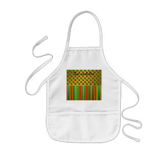 Red green Christmas trees on gold on stripes Apron