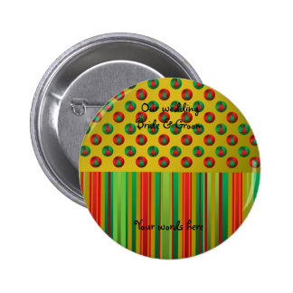 Red green Christmas trees on gold on stripes 2 Inch Round Button