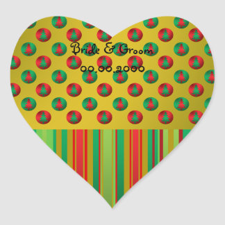 Red green Christmas trees on gold on stripes Heart Sticker