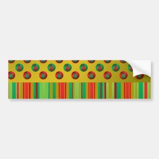 Red green Christmas trees on gold stripes Car Bumper Sticker
