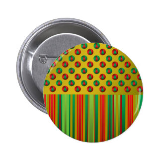 Red green Christmas trees on gold stripes 2 Inch Round Button