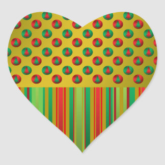 Red green Christmas trees on gold stripes Heart Sticker