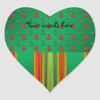 Red green Christmas trees on green stripes Heart Sticker