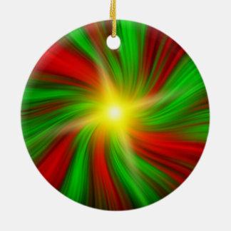 Red & Green Christmas Vortex (Ornament) Ceramic Ornament