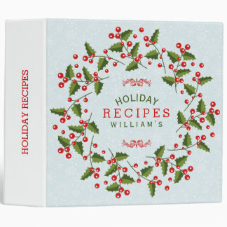 Red & Green Christmas Wreath Holiday Recipes 3 Ring Binder