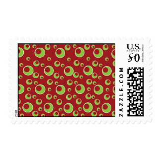 Red Green Circles Pattern Background Postage Stamp