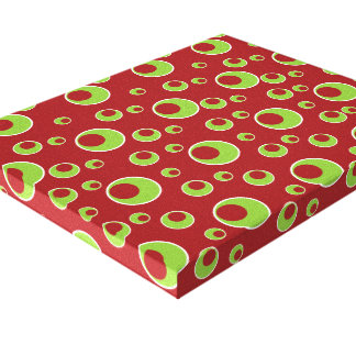 Red Green Circles Pattern Canvas Wall Art Design