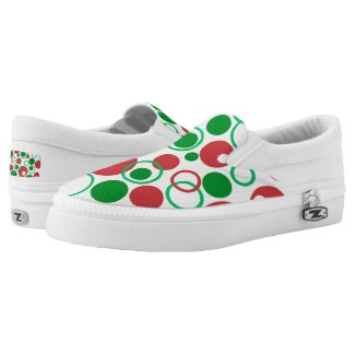 Red Green Circles Pattern Printed Shoes