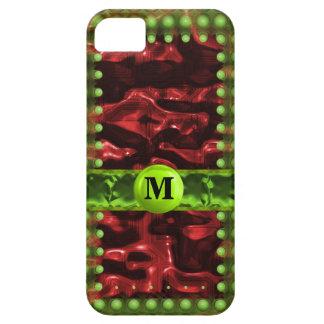 Red & Green Circuit Cells Monogram iPhone 5 Case
