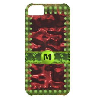 Red & Green Circuit Cells Monogram Cover For iPhone 5C