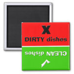 Red/Green - Clean/Dirty Dishes 2 Inch Square Magnet