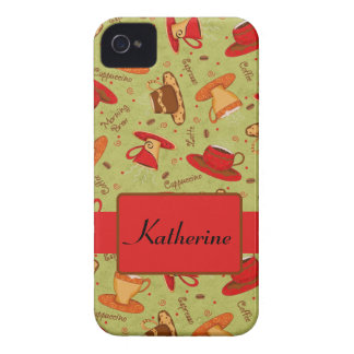 Red Green Coffee Cup Pattern Art Custom Name iPhone 4 Case-Mate Case