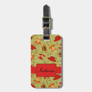 Red Green Coffee Cup Pattern Art Custom Name Luggage Tag