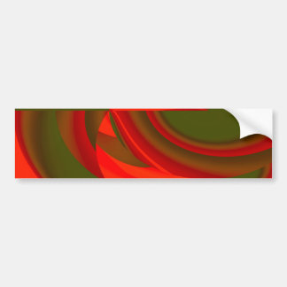 Red & Green Cubist Abstract Bumper Sticker