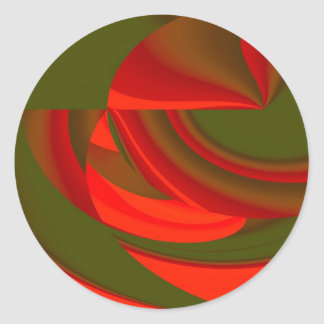 Red & Green Cubist Abstract Classic Round Sticker