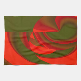 Red Green Cubist Abstract Kitchen Towels