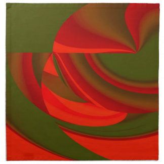 Red Green Cubist Abstract Cloth Napkins